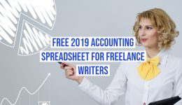 Freelance writer accounting, image of a blond woman drawing analytics.